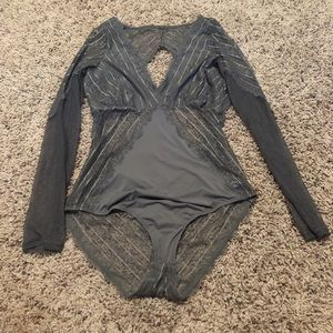 Gray long sleeve lace bodysuit